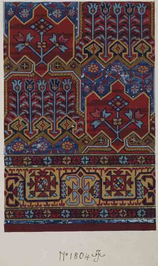 Stoddard-Templeton Design: Assorted Persian and Bordered Squares (STOD/DES/111/40F)  Design sketch: Untitled design (1880-1975)_ https://www.flickr.com/photos/uofglibrary/7364878496/in/set-72157625472336767