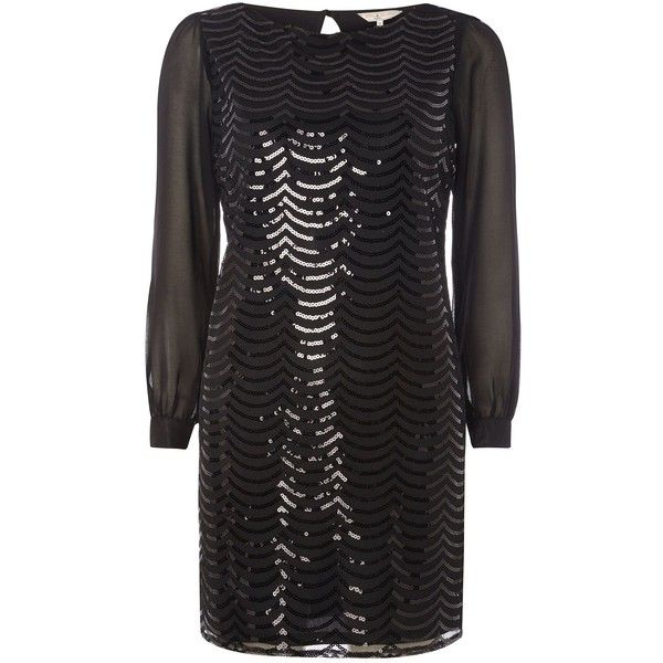 Dorothy Perkins Billie and Blossom Petite Sequin Dress ($38) ❤ liked on Polyvore featuring dresses, black, clearance, petite, dorothy perkins, sequin embellished dress, sequin cocktail dresses, a line dress and flower dress