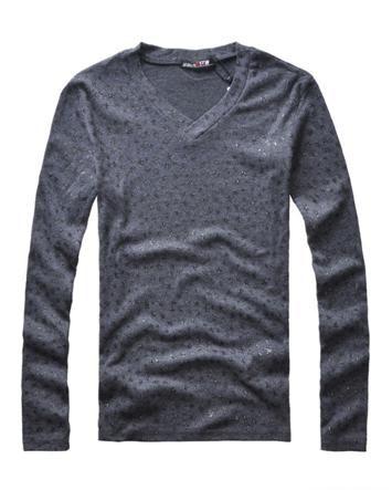 Stylish Cotton Stars Printed V Collar Long Sleeve Men T Shirt