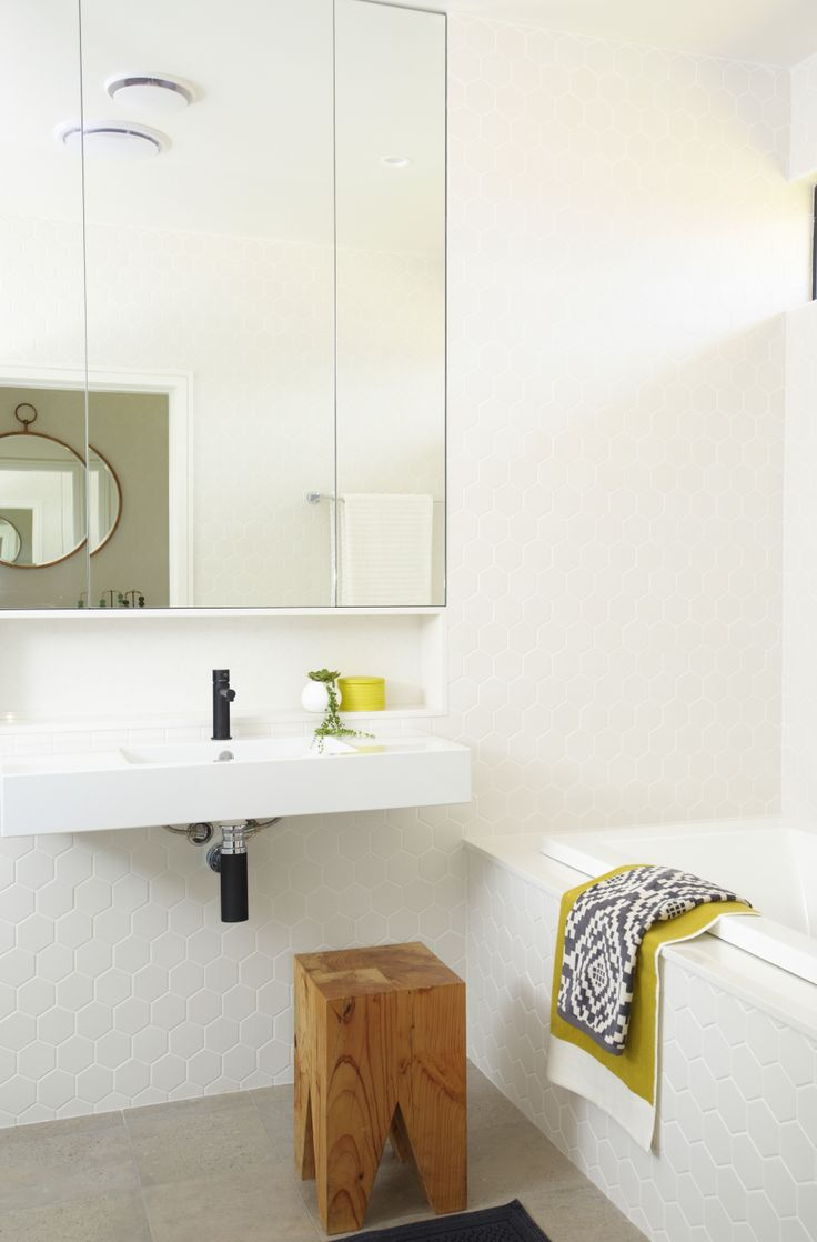 modern bathroom featuring Zylem joinery and stool
