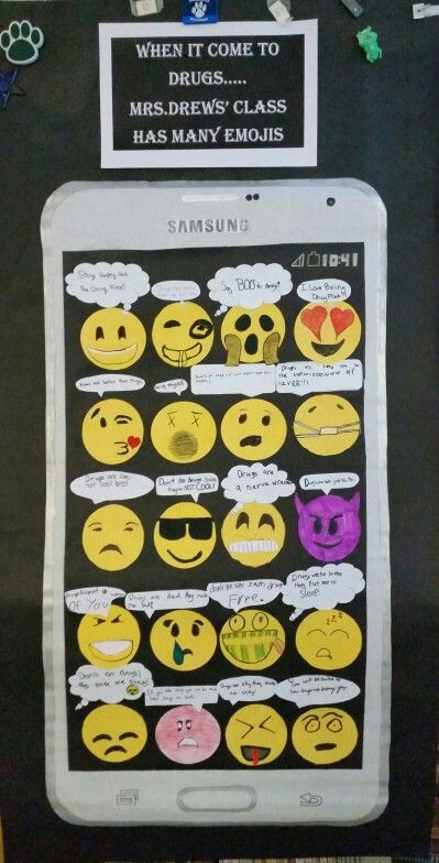 When it comes to drugs...Mrs.Drews' class has many emojis. Drug free poster for red ribbon week.: