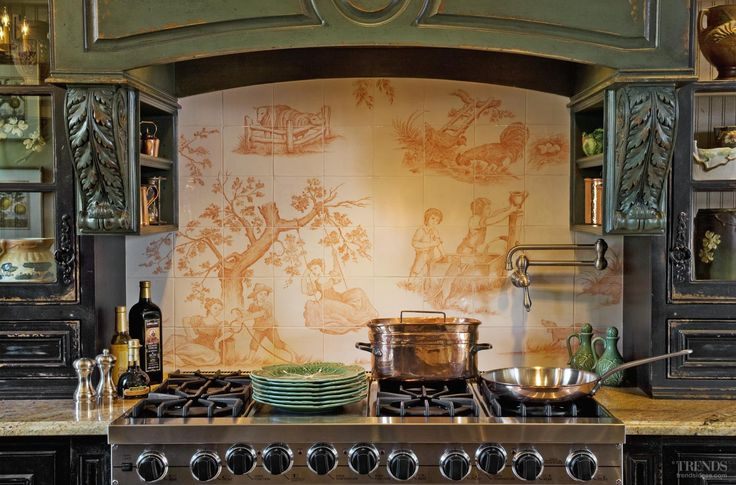 The two-tone toile backsplash was personalized to the owners' tastes.