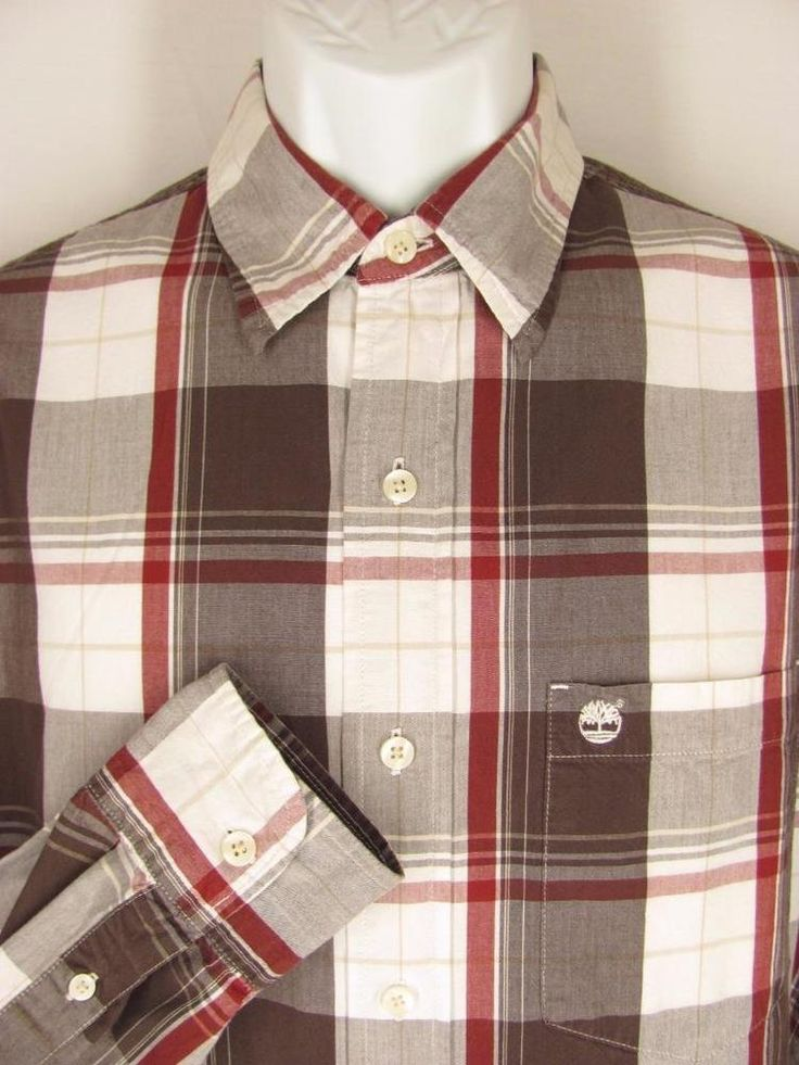 Timberland Mens Shirt M Brown White Rust Plaid Cotton Long Sleeves Casual #Timberland #ButtonFront