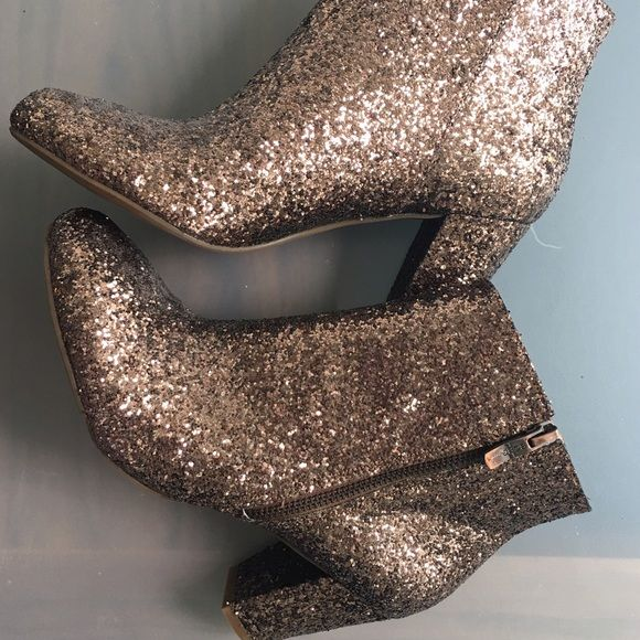 "BCBGeneration ""CHARM"" rose gold glitter boots Gorgeous and brand NEW rare CHARM ankle boots by BCBGeneration. Bought new at $120, never worn. Say size 8 but fit more like a 7 1/2! BCBGeneration Shoes Ankle Boots & Booties"