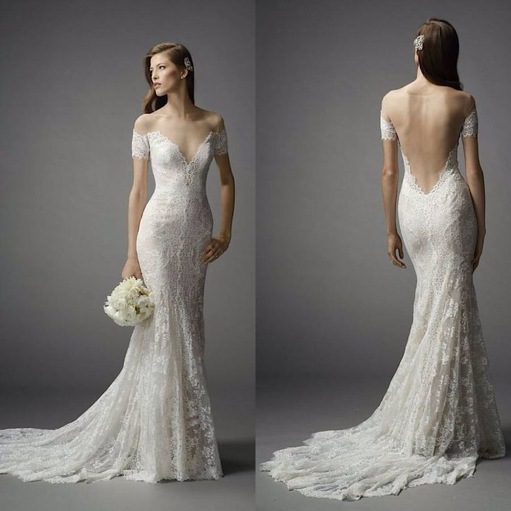 off the shoulder open back wedding dress