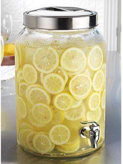 Round Lemonade Beverage Dispenser With Stainless Steel Top