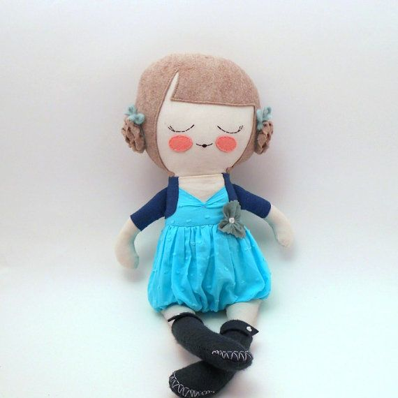 "Penelope, 18"" cloth doll, rag doll, customizable, blue, gray, braids. $54.00, via Etsy."
