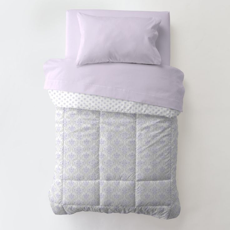 Toddler Comforter in Lilac and Silver Gray Damask by Carousel Designs.