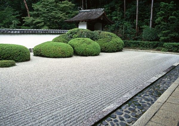 zen garden-the transition from paving to rock to raked sand