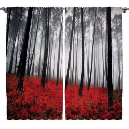 Mystic Forest Digital Photography Living Room Curtains 2Panels Set 108x90 Inches