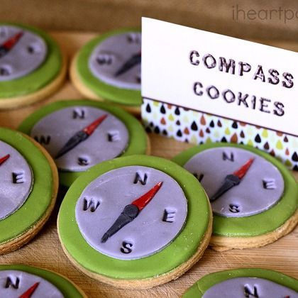 Compass Cookies - Camping Party. This has a lot of great inspiration.