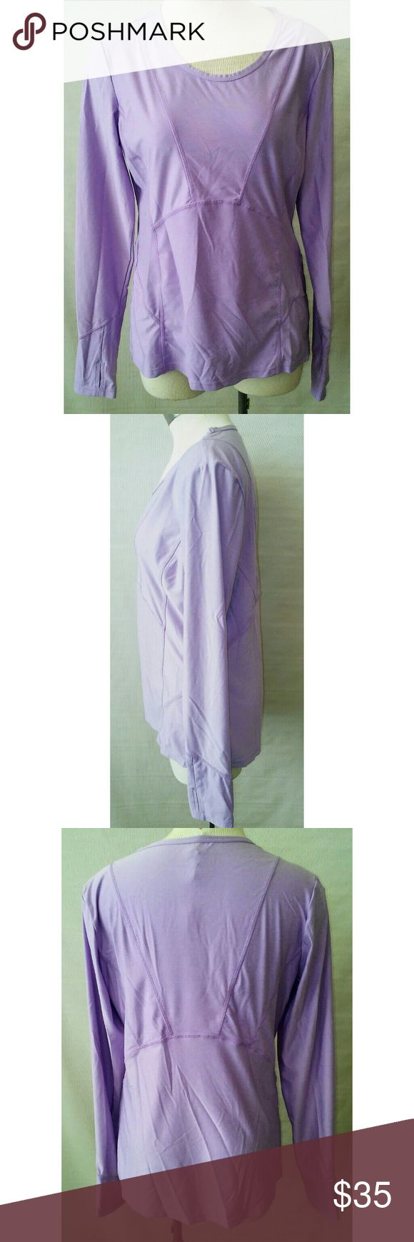 Athleta lavender long sleeve athletic top size M Whether you are running, doing yoga, golf or tennis, this versatile yet fashionable performance top is perfect. Designed and tested by women athletes for women athletes. Athleta Tops Tees - Long Sleeve