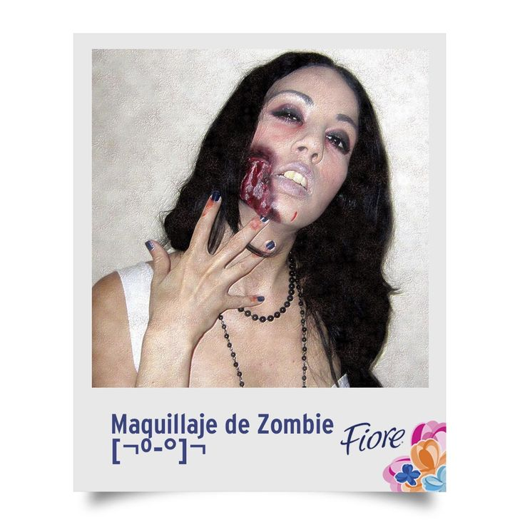 El maquillaje de zombie es un poco más complicado, pues tendrás que crear tu prótesis en papel maché y pintarla con pintura acrílica. Aquí te dejamos una idea con una prótesis pequeña y el resto en maquillaje pálido