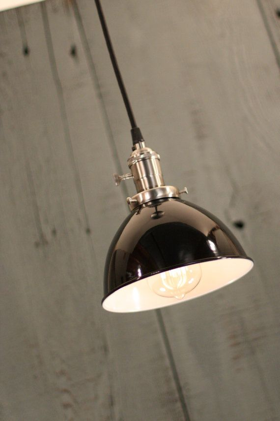 Industrial Lighting With Black Enamel Dome Shade and Reproduction Twisted Wire on Etsy, $172.00
