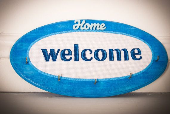 Welcome home Key holder gift housewarming hooks by TimeForStitch