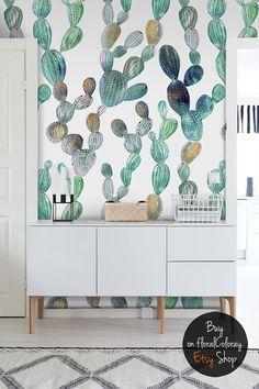 Fondo de pantalla de impresionante cactus    Aspecto metálico    Etiqueta de cactus    Pelar y pegar papel tapiz removible #41