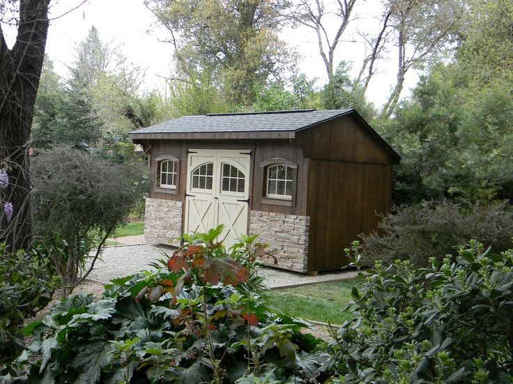Quaker Style Garden Shed With Carriage House Doors, Arched Windows And  Stone Veneer Http: