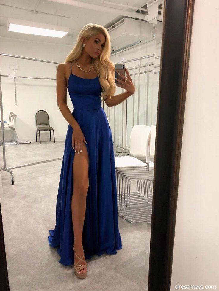 »A Line High Slit Spaghetti-Trägern Rückenfrei Königsblau Lange Ballkleider Unter 100, Einfache Elegante Abendkleider PD0725002