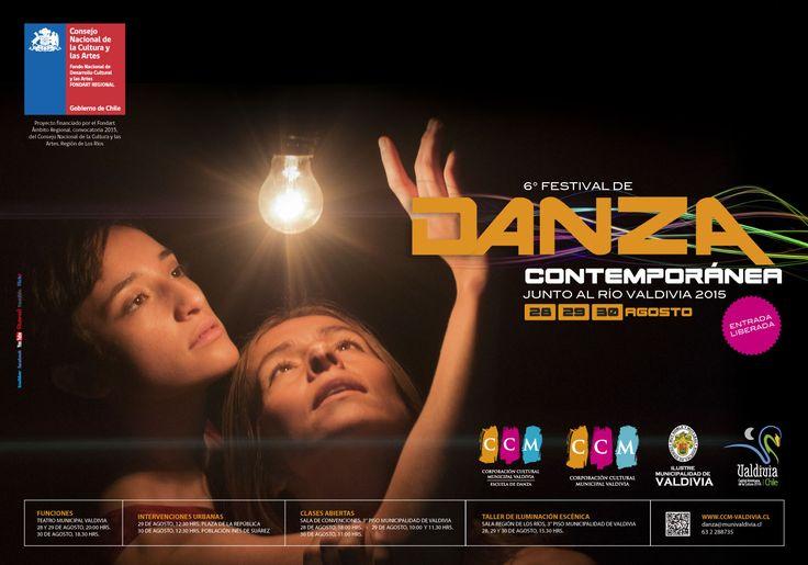 Afiche 6º Festival de Danza Contemporánea Junto al Río Valdivia. Escuela de Danza de Valdivia 2016.