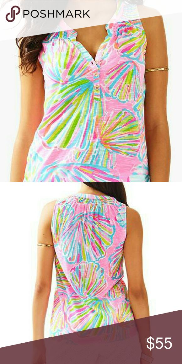 Lilly Pulitzer Essie Sleeveless Top Shellabrate The Essie top is a sleeveless printed top with smocking around the neckline. Wear this cotton tank with white denim and wedges.  Sleeveless Top With Center Front Placket With Gold Button Detail And Smocking Around Neckline. Slubby Cotton Jersey - Printed (100% Cotton). Machine Wash Cold, Delicate Cycle. Lilly Pulitzer Tops Tank Tops