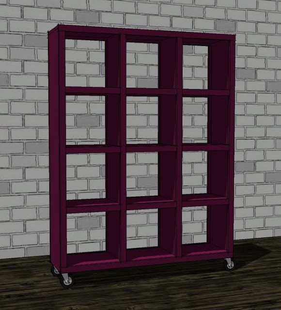 Ana white build a rolling room divider cubbies free for Easy room divider