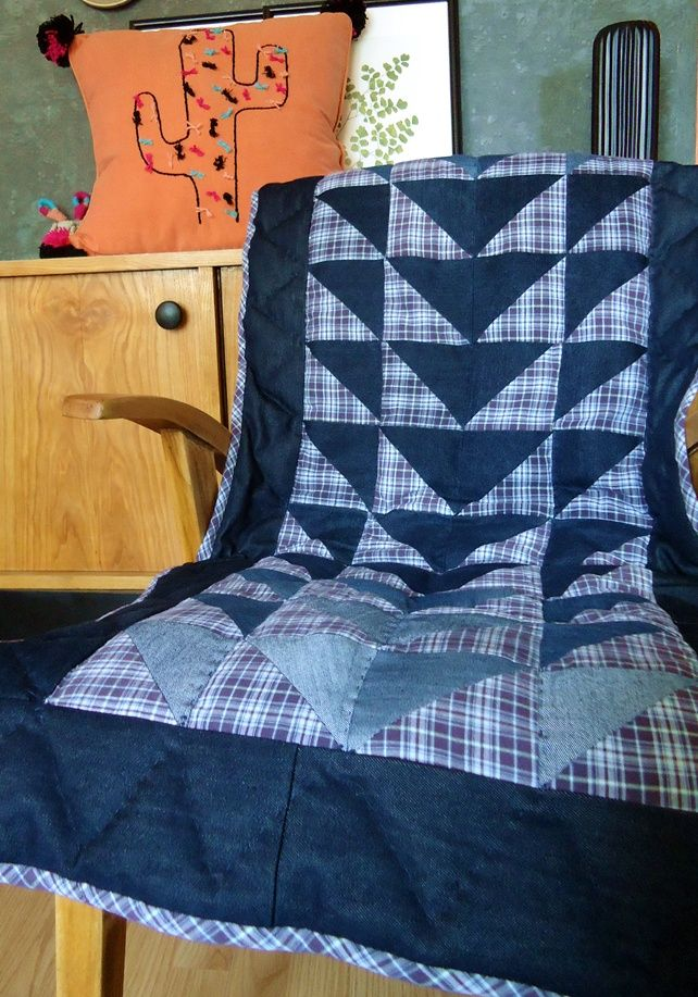 czas oscrapowany: Mały patchwork z jeansów i koszuli w kratę
