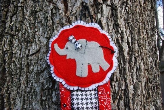 Hair Bow/Clip Holder: Alabama Crimson Tide Houndstooth w/ Red, Elephant Theme, $18