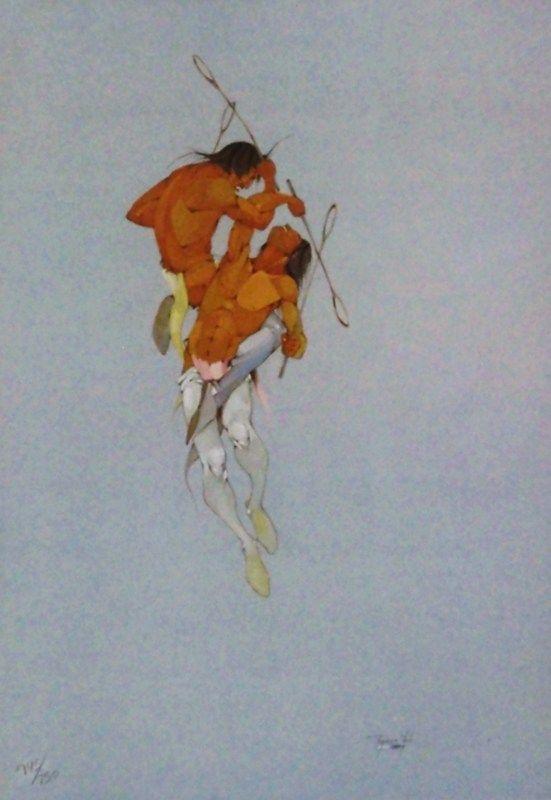 Tangle at Stick Ball by Jerome Richard Tiger(Creek/Seminole).| Native Arts of America, Inc.