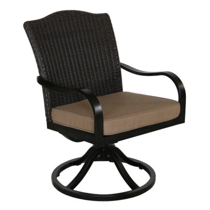 Outdoor Royal Garden Indigo Wicker Swivel Dining Chair - Set of 2 - Brick - A105200-02-SCTB
