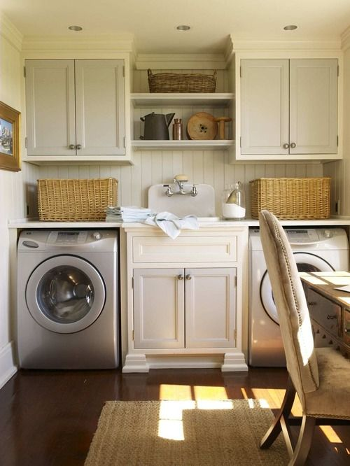 laundry.  Replace bottom open shelf with rod.