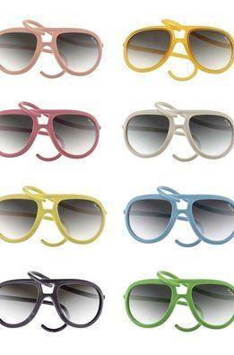 Las gafas de sol AL e RO design con montura de goma de colores y lentes intercambiables