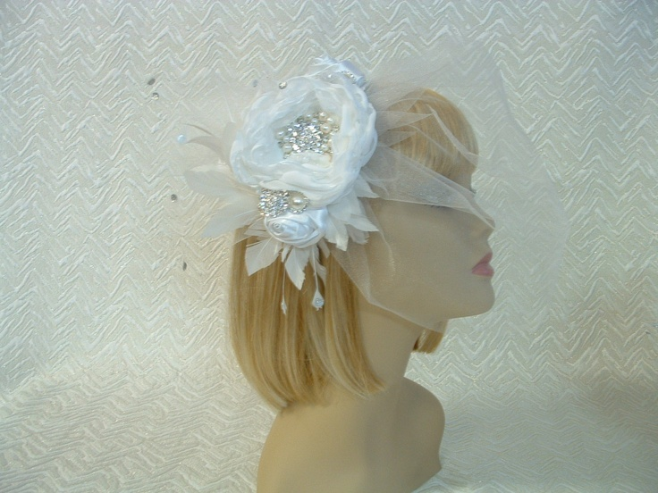BRIDAL WEDDING FASCINATOR OFF WHITE SILVER CRYSTAL PEARL VEIL VINTAGE STYLE Available on eBay http://www.ebay.com.au/itm/BRIDAL-WEDDING-FASCINATOR-OFF-WHITE-SILVER-CRYSTAL-PEARL-VEIL-VINTAGE-STYLE-/281099173044?pt=AU_Wedding_Clothing=item4172d0fcb4