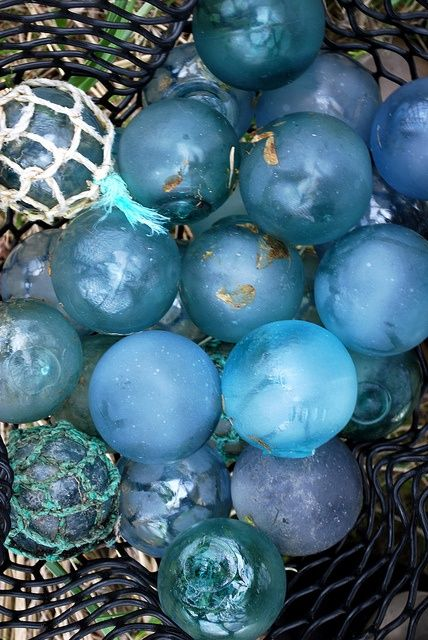 glass floats in shades of blue