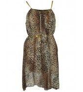 Animal print greek style dress -Brown