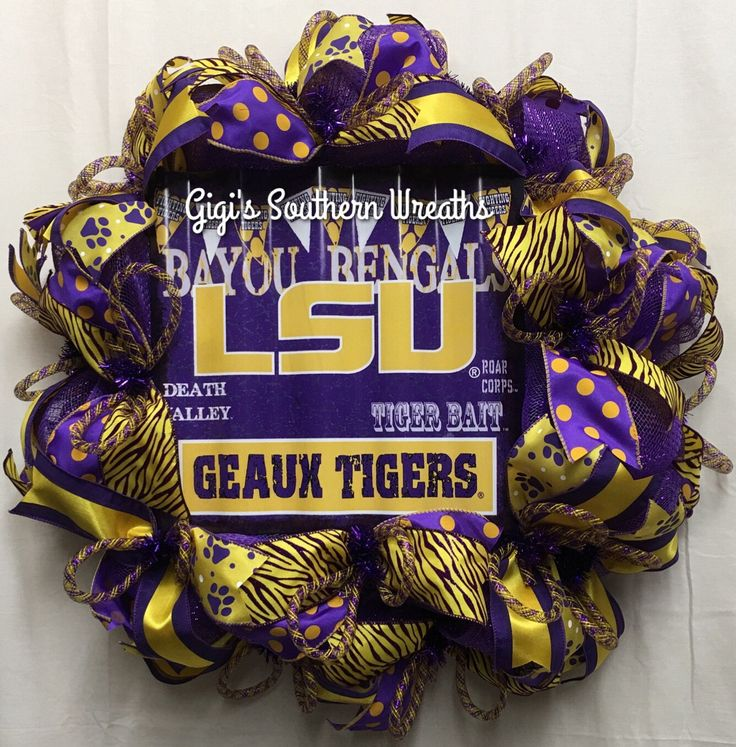 Louisiana Sports Wreath, Purple and Gold, LSU, College Sports Wreaths, Tigers Wreath, 154 by GigisSouthernWreaths on Etsy
