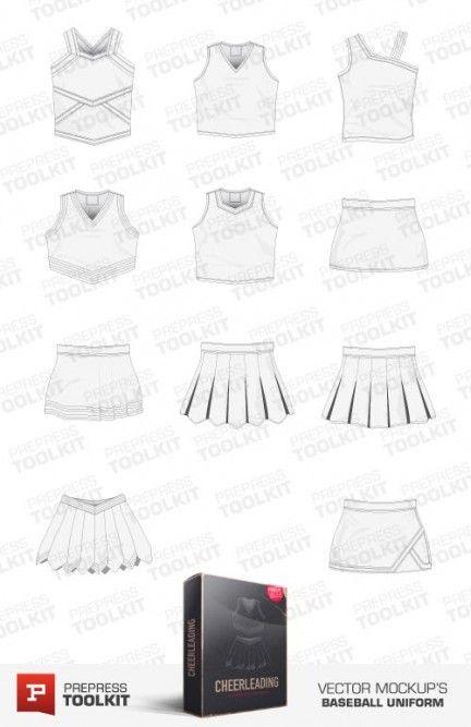 Vector mockup template cheerleading uniform vector apparel mockup templates pinterest for Cheerleading templates printable