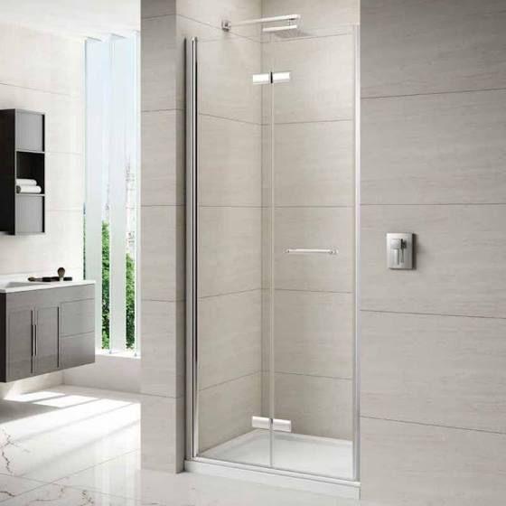 bi fold shower door frameless