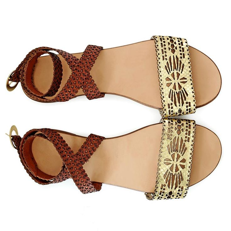 Flat sandals inspired by Persian culture. Made from natural leather and…