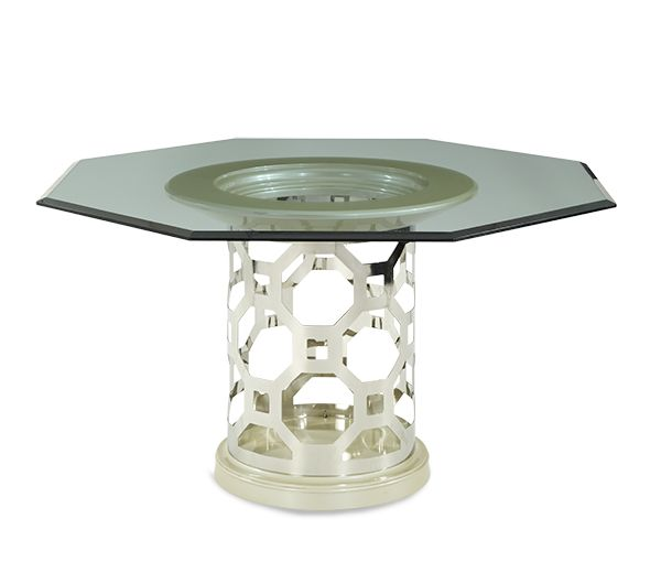 Pearl 60'' Round Dining Table with Octogonal Shaped Glass Top | After Eight | Michael Amini Furniture Designs | amini.com