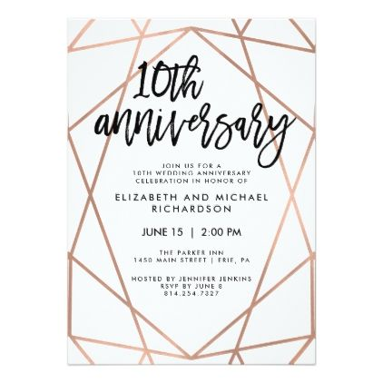 211 best wedding invitations geometric images on pinterest faux rose gold geometric 10th wedding anniversary card weddinginvitations wedding invitations stopboris Gallery