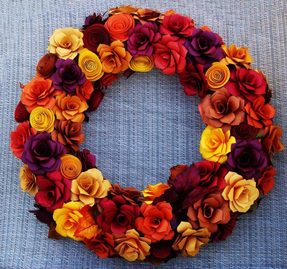 Fall Wreath FAll 15 inches in  Fall Rustic by SweetPeaPaperFlowers, $100.00