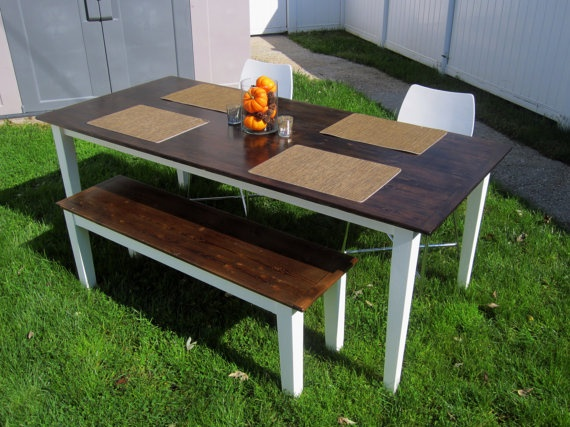 Handmade Modern Farmhouse Table With Bench 750 Customizations Ok Love The White