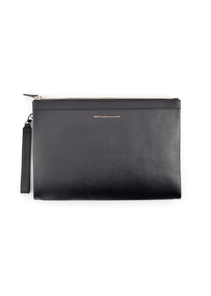 Want Les Essentiels de la Vie - Fall Winter 2015 - Menswear // Black Bajaras A4 double zip bag