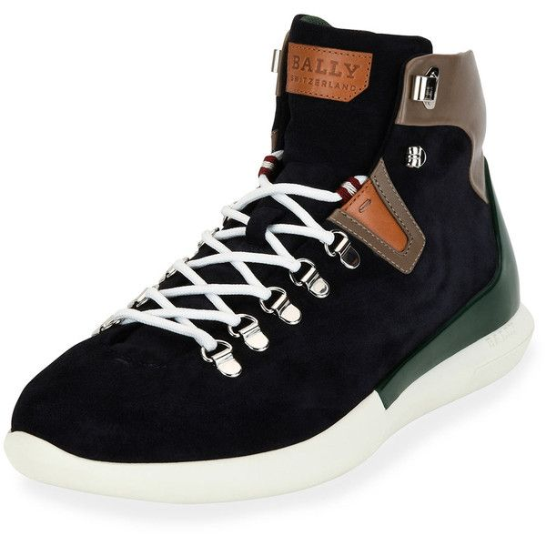 Bally Avyd Suede Hybrid Hiker-Sneaker featuring polyvore, men's fashion, men's shoes, men's sneakers, blue, mens blue sneakers, bally mens shoes, mens suede shoes, mens wide width sneakers and mens lace up shoes