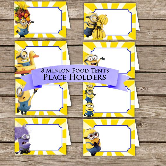Minion Food Tents! Place Holders! Digital Download!  Despicable me Birthday Party!                                                                                                                                                     More