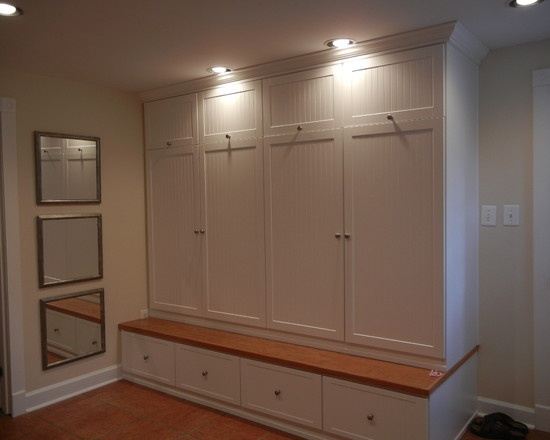 Mudroom lockers with cabinet doors to hide the clutter for Entryway lockers with doors