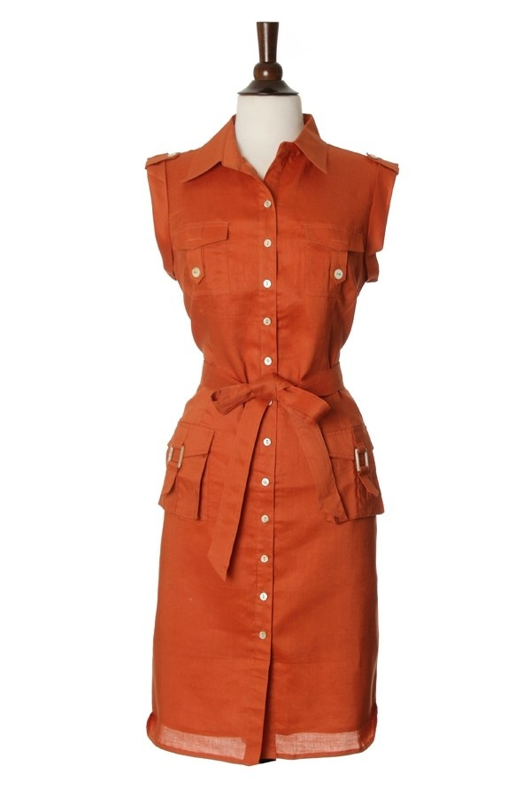 Cargo Pockets Linen Dress for Women. Color Lava. - Naturally breathable pocket linen dress . The dress is sleeveless with chest and hip pockets. Can be dressed up with a pair of heels for a sleek office look or keep it casual with a pair of flats and sandals.