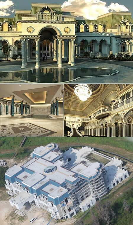 Versailles, Florida - The largest family home ever built in the US. This 30 bedroom mansion boasts its own bowling alley, roller skating rink and Olympic sized swimming pool. Time share mogul David Siegel and his former beauty queen wife Jacqueline  built this.