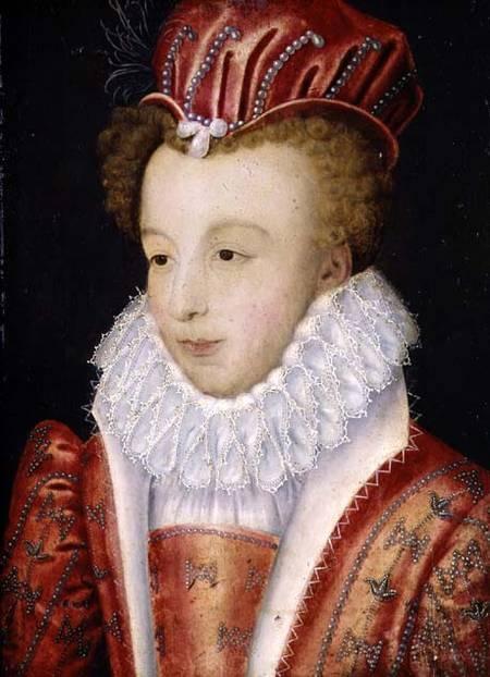 François Clouet - Marguerite de Valois -En 1560 Catherine de Médicis propose sa fille en mariage au fils de Philippe II d'Espagne, l'infant Charles, mais le mariage ne se fait pas. Des négociations ont lieu aussi pour marier Marguerite au roi du Portugal, Sébastien 1°,elles sont aussi abandonnées. Ressurgit l'idée, déjà évoquée par Henri II, d'une union le jeune roi de Navarre, héritier présomptif de la couronne de France- mais la perspective d'une accession au trône est alors bien lointaine