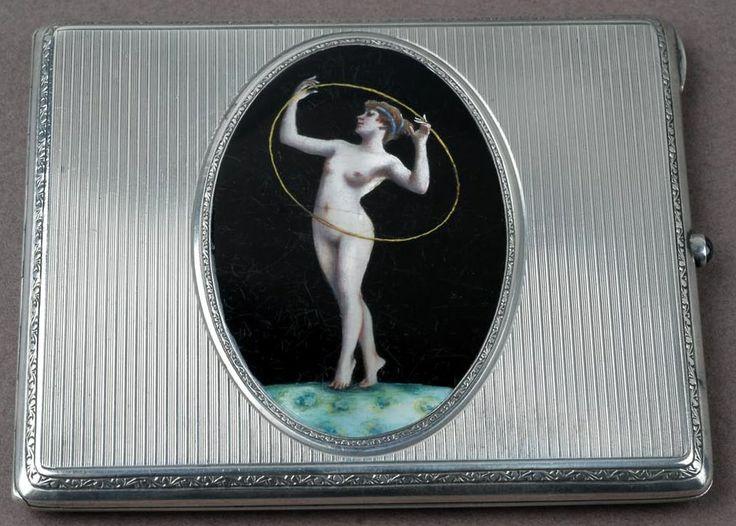 Risque enamel and silver 1920s cigarette case @silvervaultslondon.com